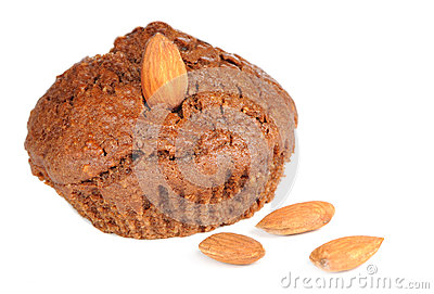 Brownie Cupcake with Almonds Isolated on White Background