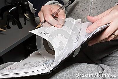 Browse through diary