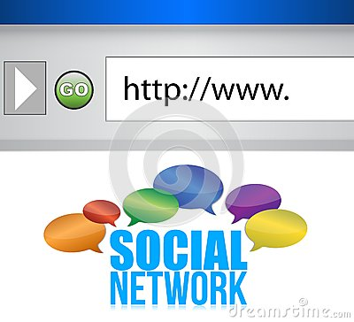 Browser window shows a social network