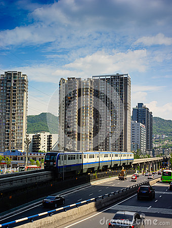 Chongqing monorail System Editorial Stock Image