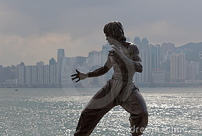 Bruce Lee statue. Tsim Sha Tsui. Hong Kong. Editorial Stock Image