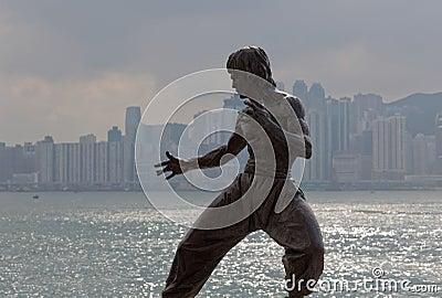 Bruce Lee statue. Tsim Sha Tsui. Hong Kong. Editorial Stock Image