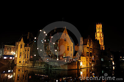 Bruge canal & the Belfry at night