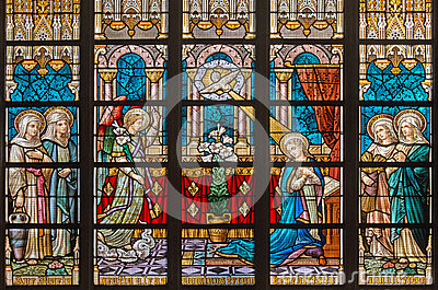 Bruges belgium june 12 2014 the annunciation on windowpane in st salvator 39 s cathedral - Glass art by artis ...