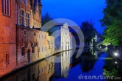 Bruges by Night, Belgium Editorial Photography