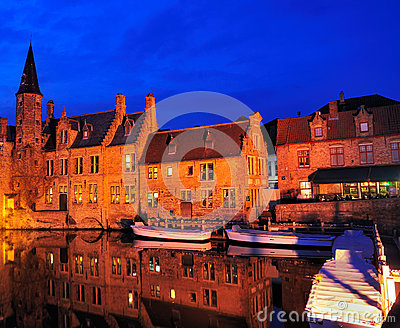 Bruges by Night, Belgium Editorial Image
