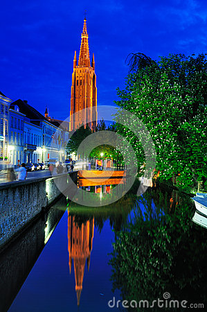 Church of Our Lady by Night - Bruges Editorial Photography