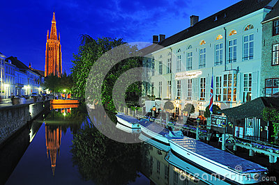 Church of Our Lady by Night - Bruges Editorial Photo