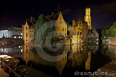 Bruges Brugge noc rozenhoedkaai strzał
