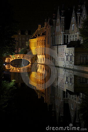 Bruges Buildings and bridge reflections at night