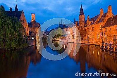 Bruges Canal Buildings Rozenhoedkaai