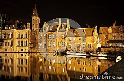 Bruges canal at night, Belgium