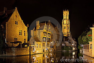 Bruges canal at night, Belgium