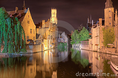 Bruges at night.