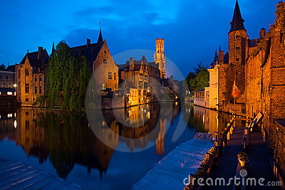 Bruges old city at night