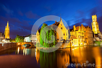Bruges town at night