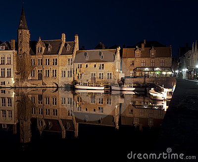 Bruges Waterfront At Night