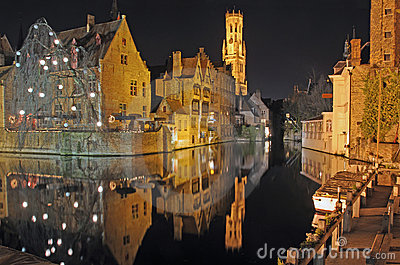Brugge Downtown Canal At Night