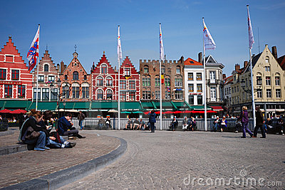 Brugge. Grote Markt - Trade Square Editorial Photo
