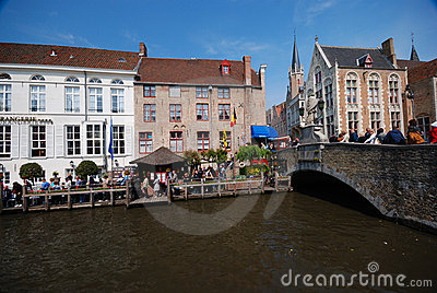 Brugge. Sightseeing boats pier Editorial Stock Image