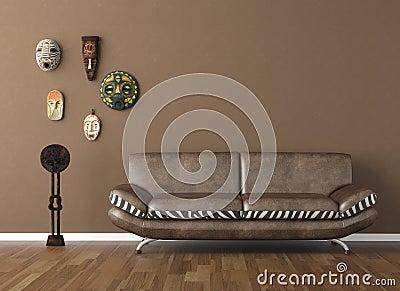 Bruine Muur Met Stammenmaskers Stock Foto - Afbeelding: 16924980