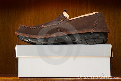 Bruine schoenen op doos
