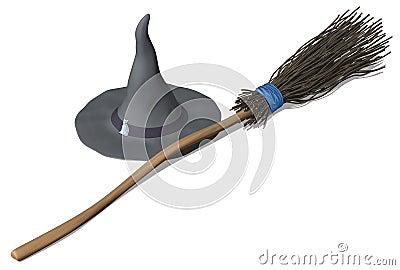 Brujas sombrero y escoba
