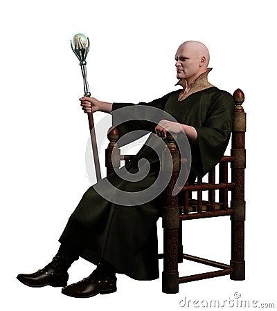 Brujo que se sienta en su trono