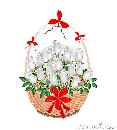 Brun korg av älskvärda vita rosor