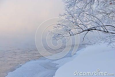 Brunch above snowy riverside