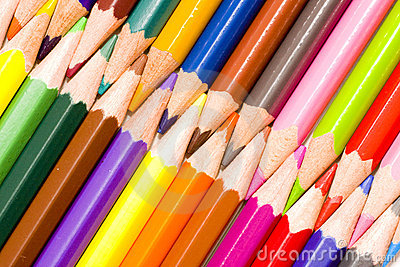 Brunch of colored crayons