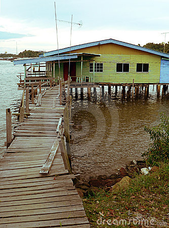 Free Brunei. Downtown Bandar. Kampung Ayer Typical Home Royalty Free Stock Photo - 1225165