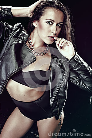 Brunett Girl in underwear and a jacket