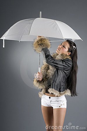 Free Brunette And Umbrella Royalty Free Stock Photography - 4836507