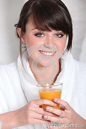 Brunette in bath robe