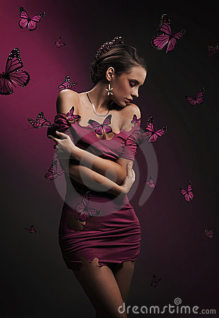 Brunette beauty and violet butterflies