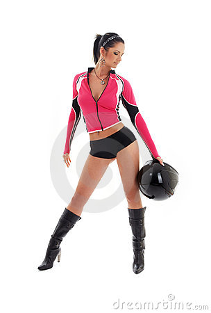 Free Brunette Biker Girl With Black Stock Images - 3215644