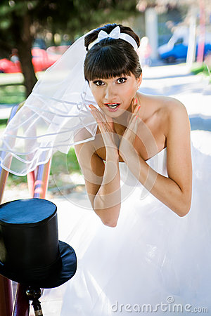 Brunette bride surprised