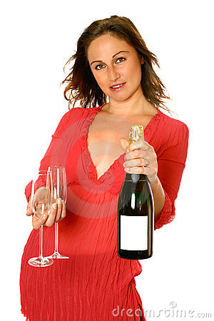 Brunette with champagne bottle