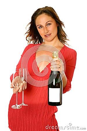 Brunette with champagne bottle