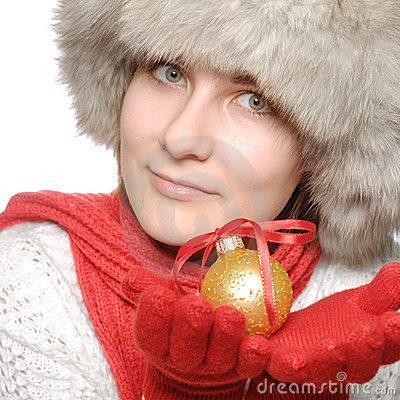 Brunette with christmas ball