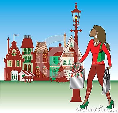 Brunette Christmas Shopping