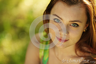 Brunette close up portrait