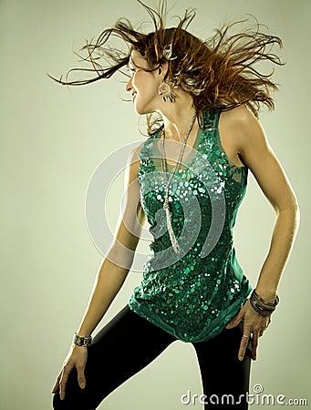 Brunette in clubwear