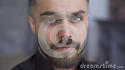 Brunette con barba e baffi che guardano la telecamera Ritratto di uomo caucasico attraente in camicia nera archivi video
