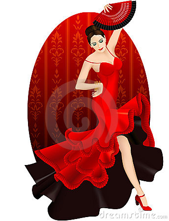 Brunette dance flamenco