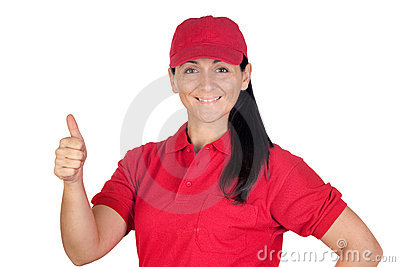 Brunette dealer with red uniform saying OK
