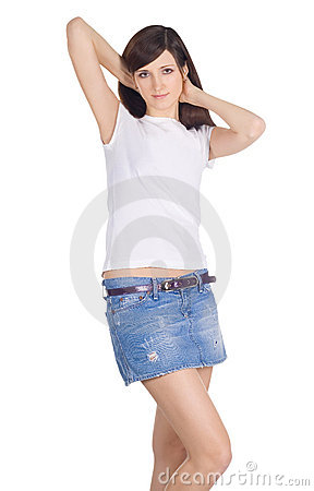 Brunette in denim skirt