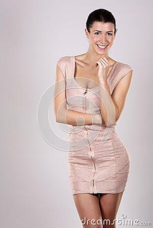 Brunette in dress