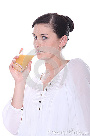 Brunette drinking juice
